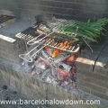 Calçots cooking on a barbecue near barcelona