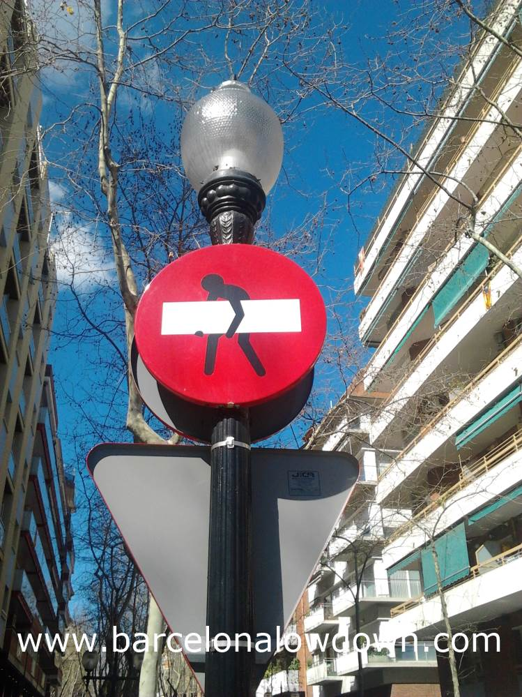 """Modified"" No Entry Sign on La Rambla de Poble Nou"