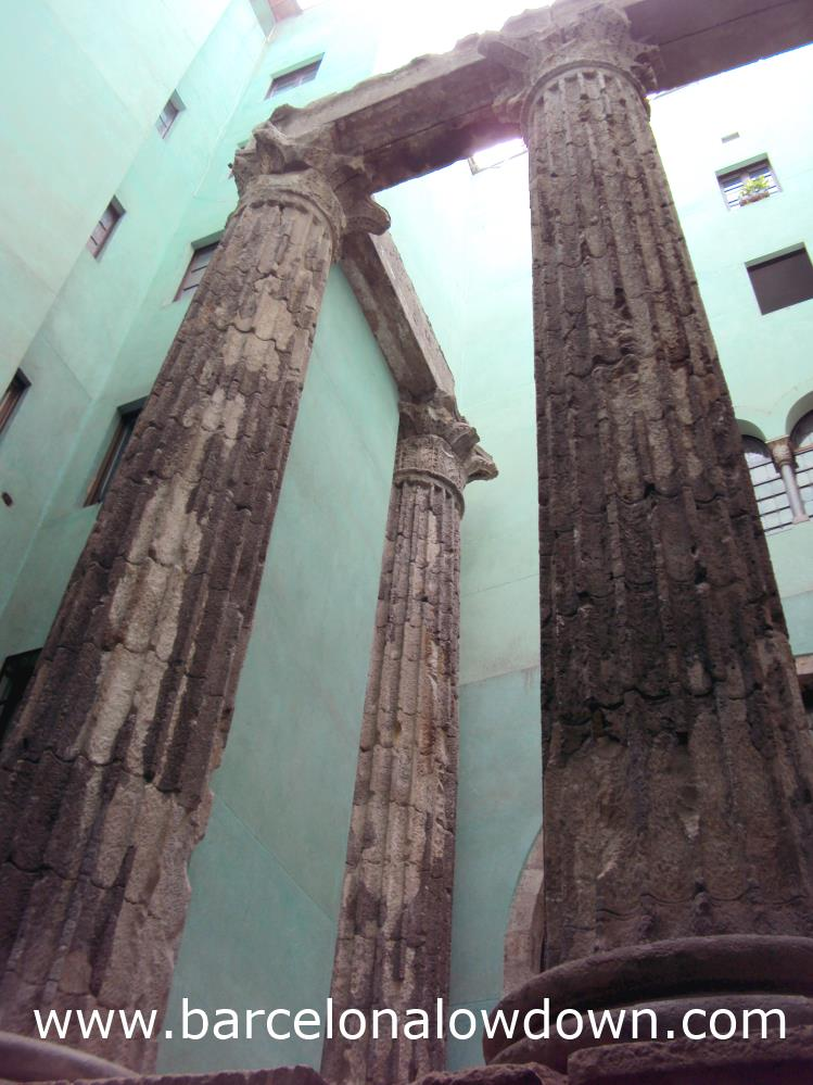 Columns of the Roman Temple of Augustus in the Gothic Quarter, Barcelona