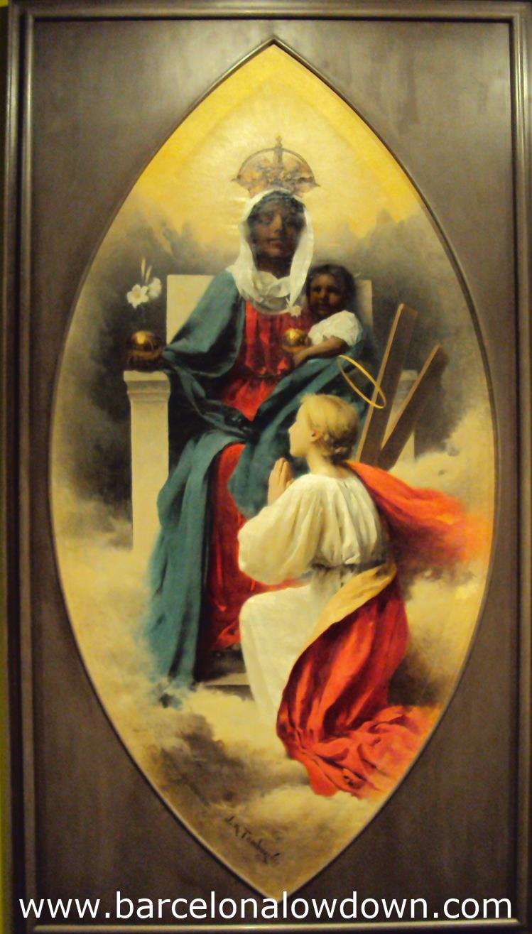 Painting of the Virgin of Montserrat and Santa Eulalia in the Monestir de Pedralbes