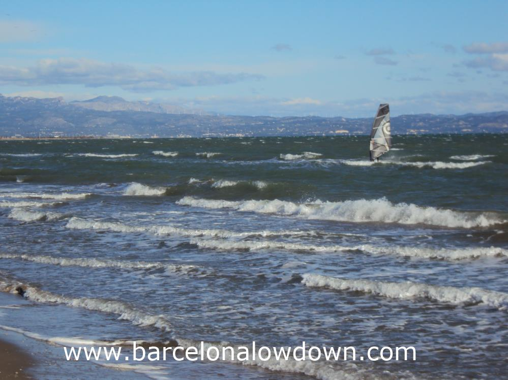 Windsurfing at Riumar, Spain in springtime