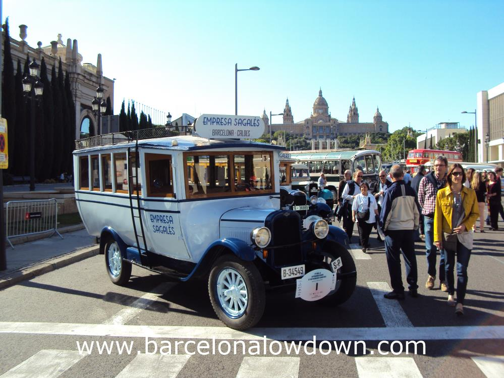 1928 Chevrolet 16 seater classic bus in front of the MNAC museum, Barcelona.