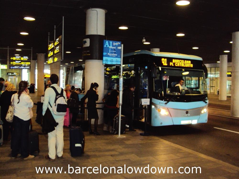 The Airport bus at Barcelona T1 terminal