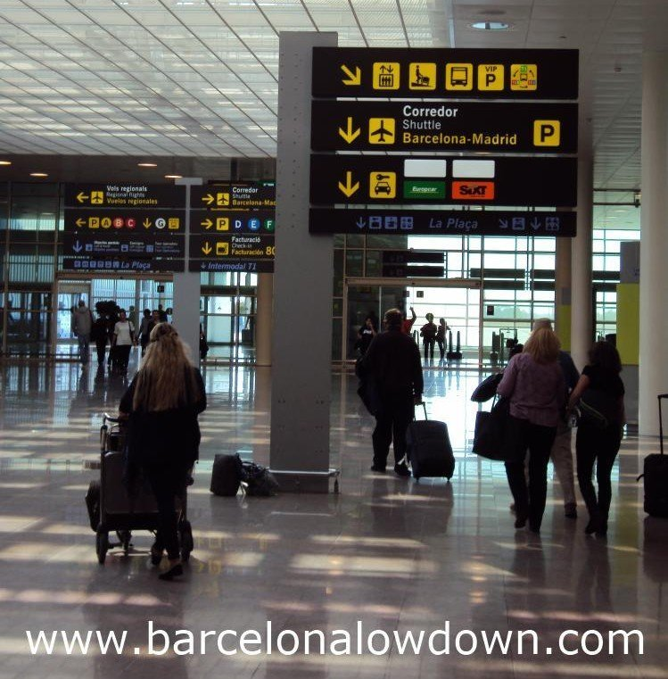 Tourists at Barcelona airport