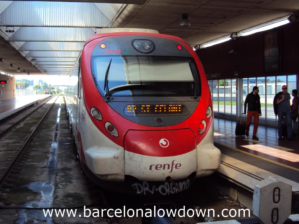 The train from Barcelona airport to the city centre