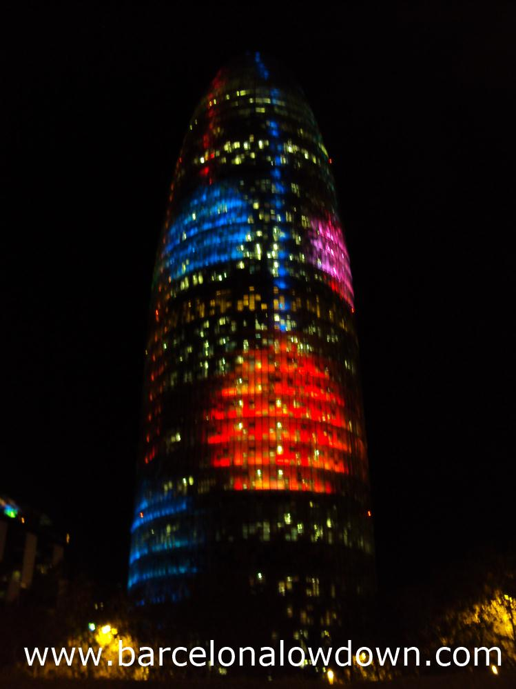 Christmas decorations illuminate the Agbar tower Barcelona