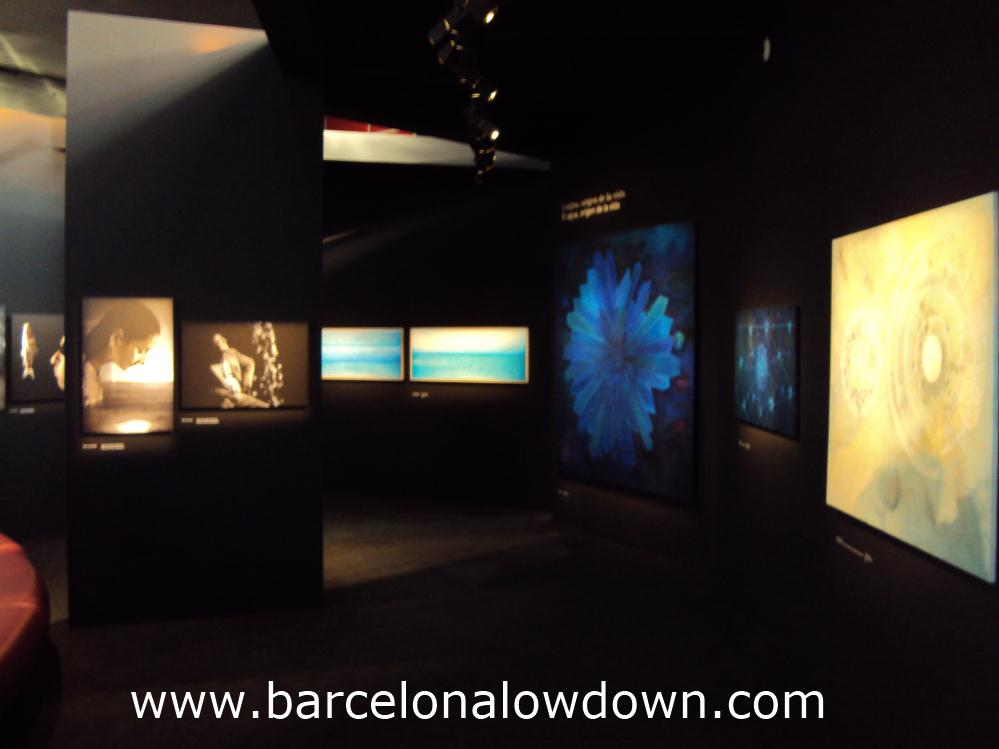 Some of the paintings in the agua, aguas art exhibition at the Agbar tower, Barcelona