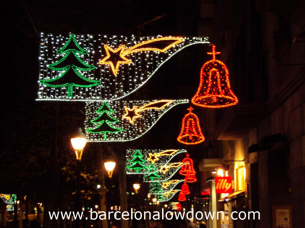 Classic Christmas lights illuminating Av. Gaudi, Barcelona