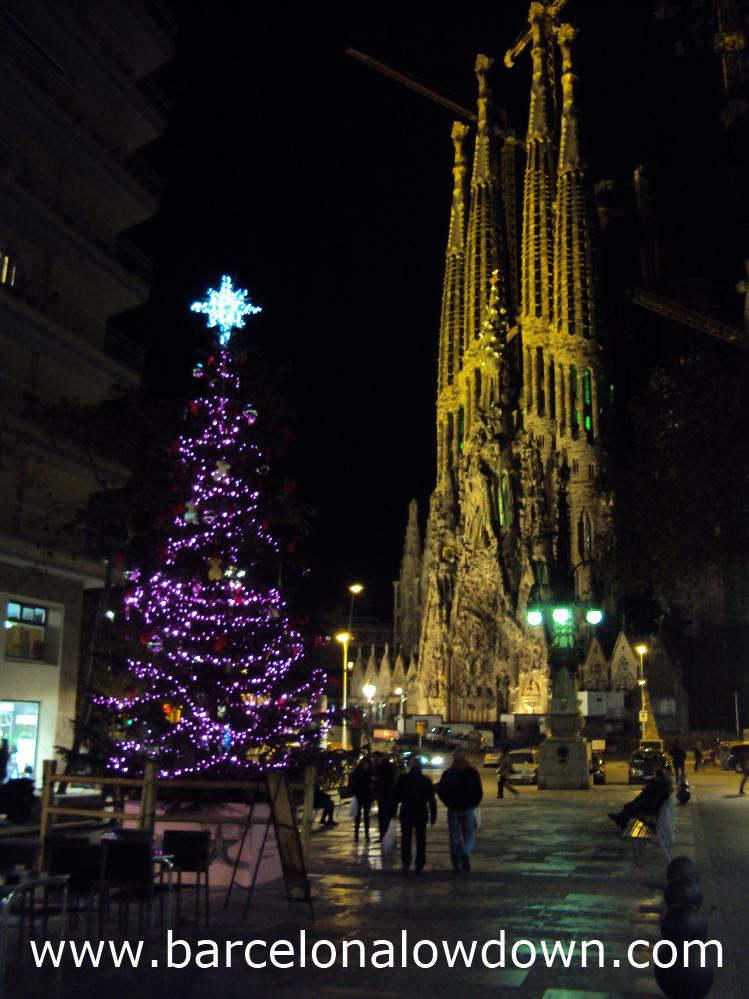A Christmas tree in front of the Sagrada familia Barcelona