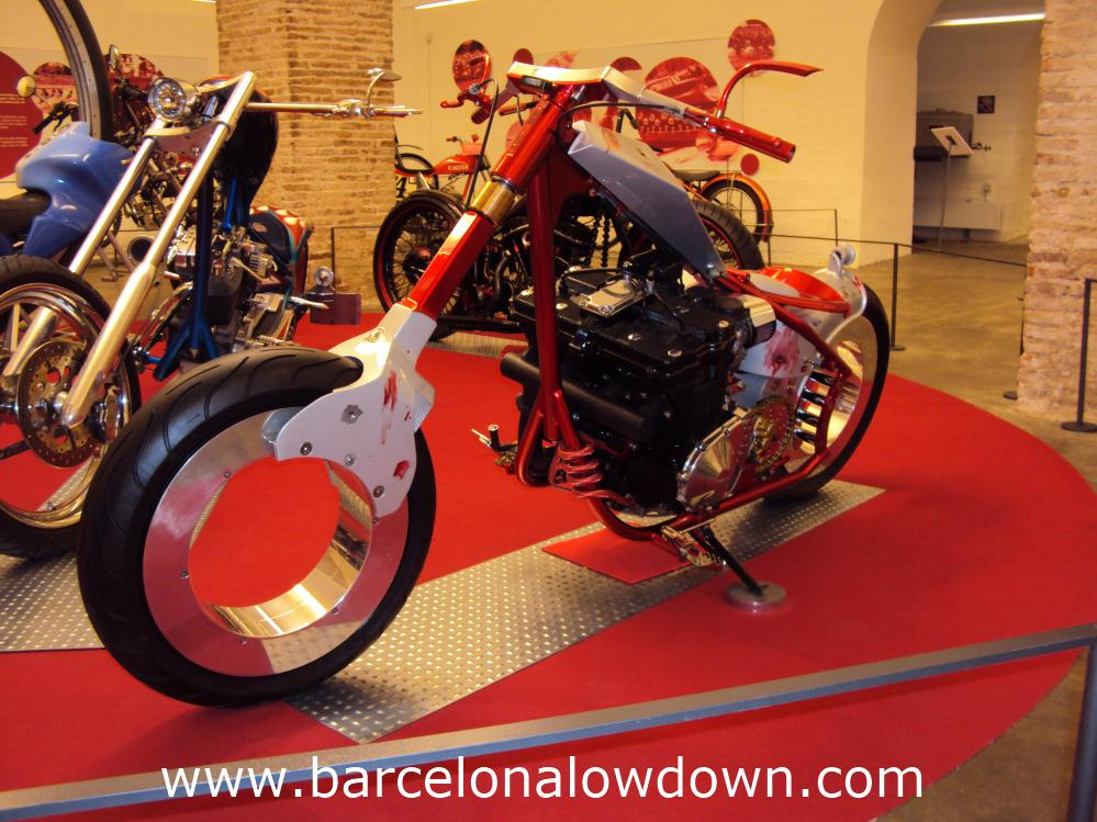 A Vendetta custom bike in the motorcycle museum of Barcelona