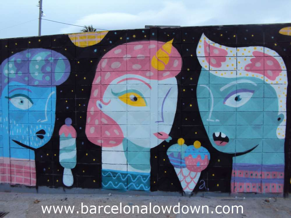 Graffiti of three girls and ice cream cones, paintes using bright colours on a black background.
