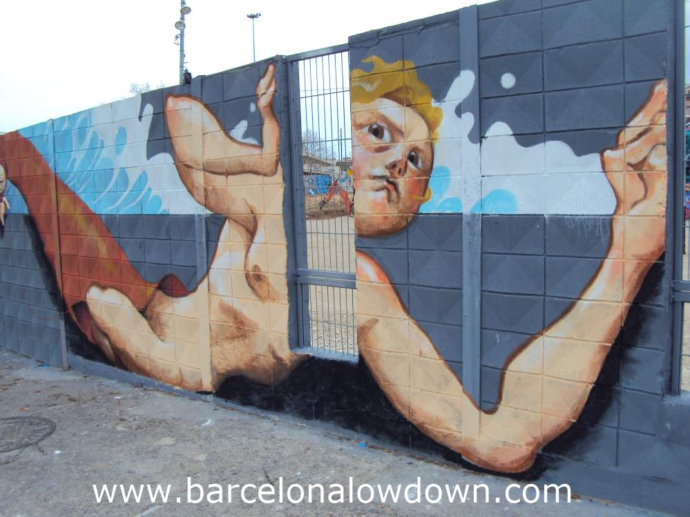 Graffiti showing a worried looking mermaid, painted on a wall in Barcelona