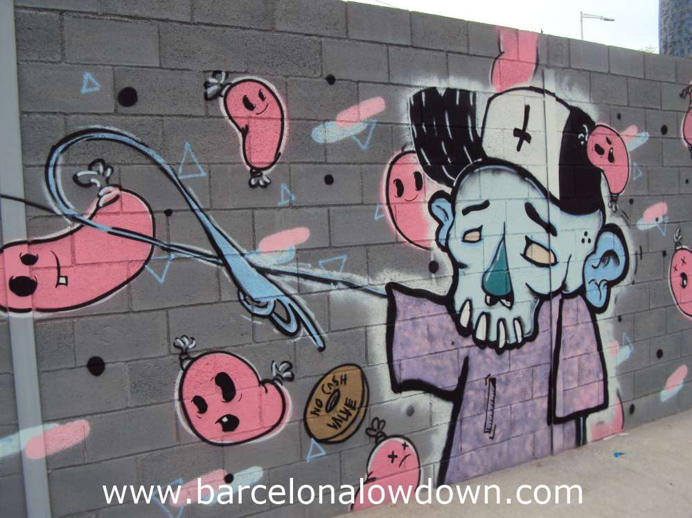 Graffiti in Barcelona, painting of a skeleton wearing a baseball cap with pink chorizo sausages flying symbolising corruption