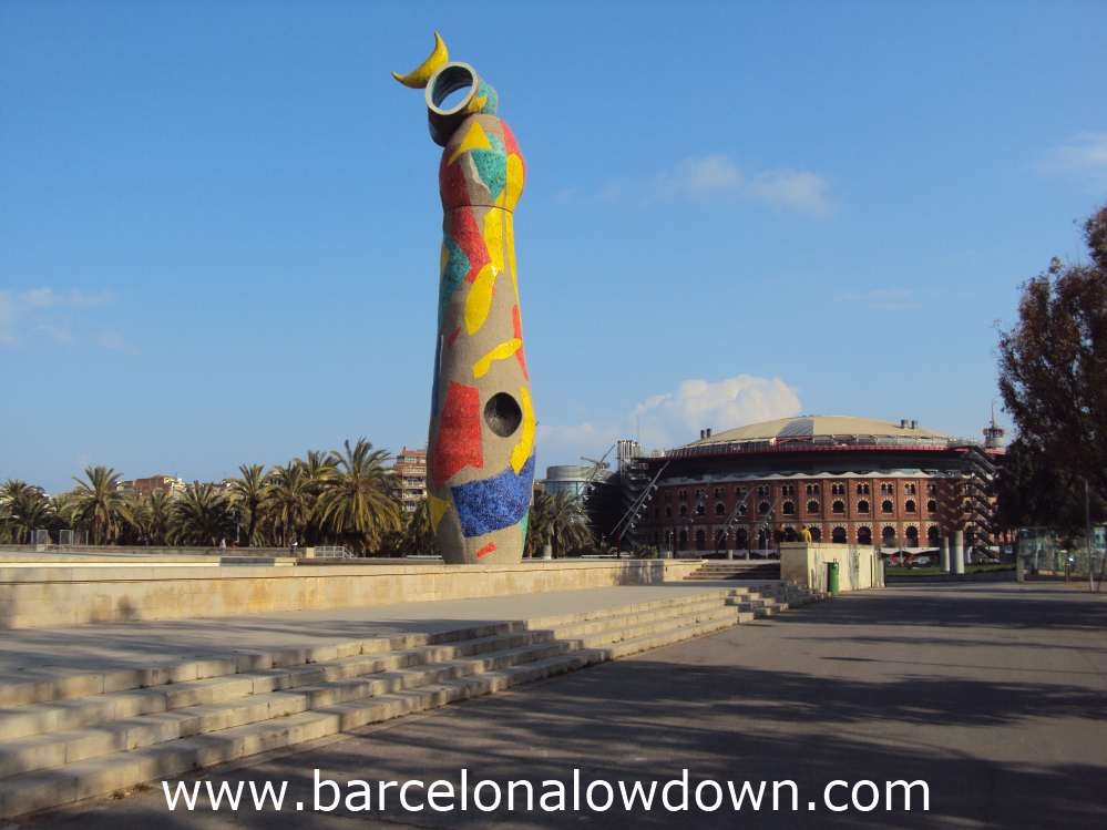 The Woman and Bird sculpture and the Las Arenas shopping centre in Joan Miro Park Barcelona