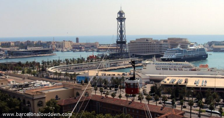 View of the Barcelona Port Cable Car from Montjuïc
