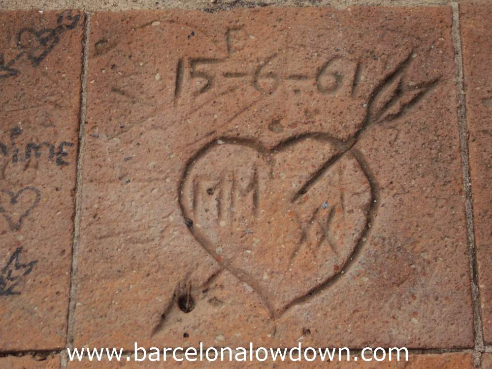 Lovers used to carve their initials in the tiles at Laribal Gardens Barcelona