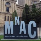 Sign outside the MNAC museum Barcelona