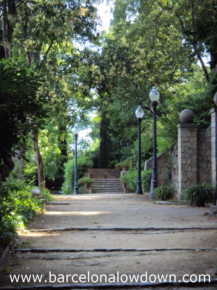 A shady path in the Laribalgardens, Montjuic Barcelona