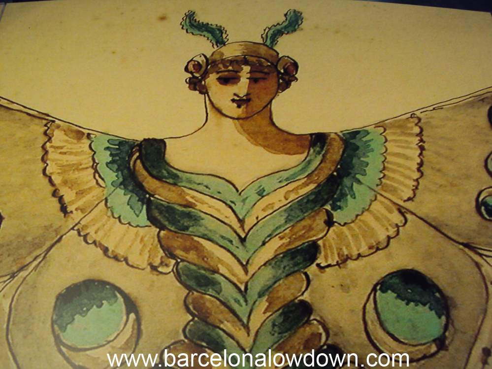 An old painting of a butterfly woman