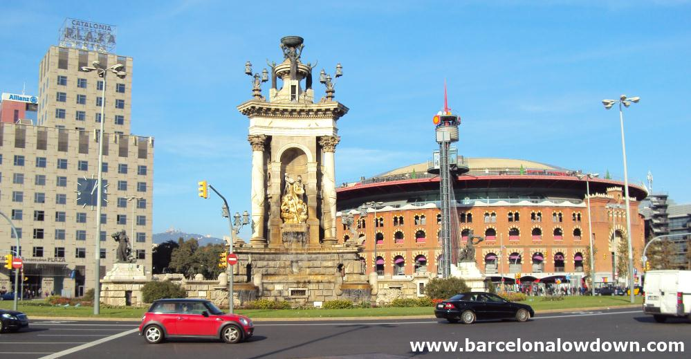 The neoclassical fountain at the centre of Plaça d'Espanya (Spain square) Barcelona