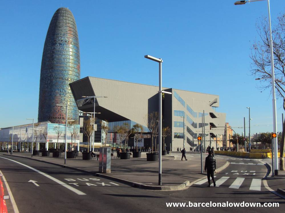 The Barcelona design museum is located in the hyper modern Disseny Hub building next tothe Agbar tower and the new Encants Vells flea market in the 22@ district of Barcelona