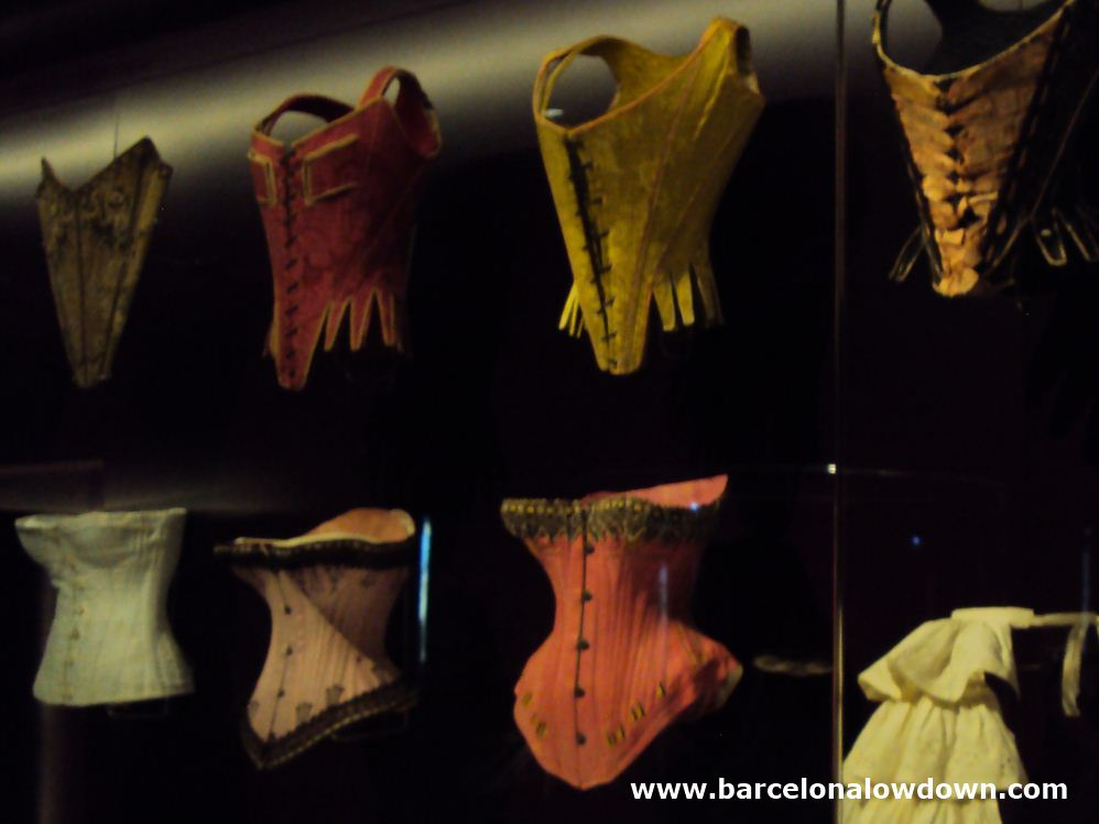 A collection of bodices on display at the Barcelona design museum