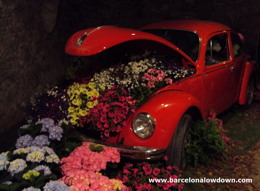 Flower filled car on display at the Girona flower festival in Spain