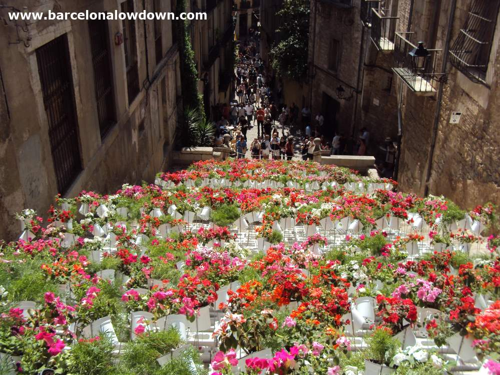 A huge number of flowers in front of a church during the Catalan Temps de Flors flower festival in Girona near Barcelona