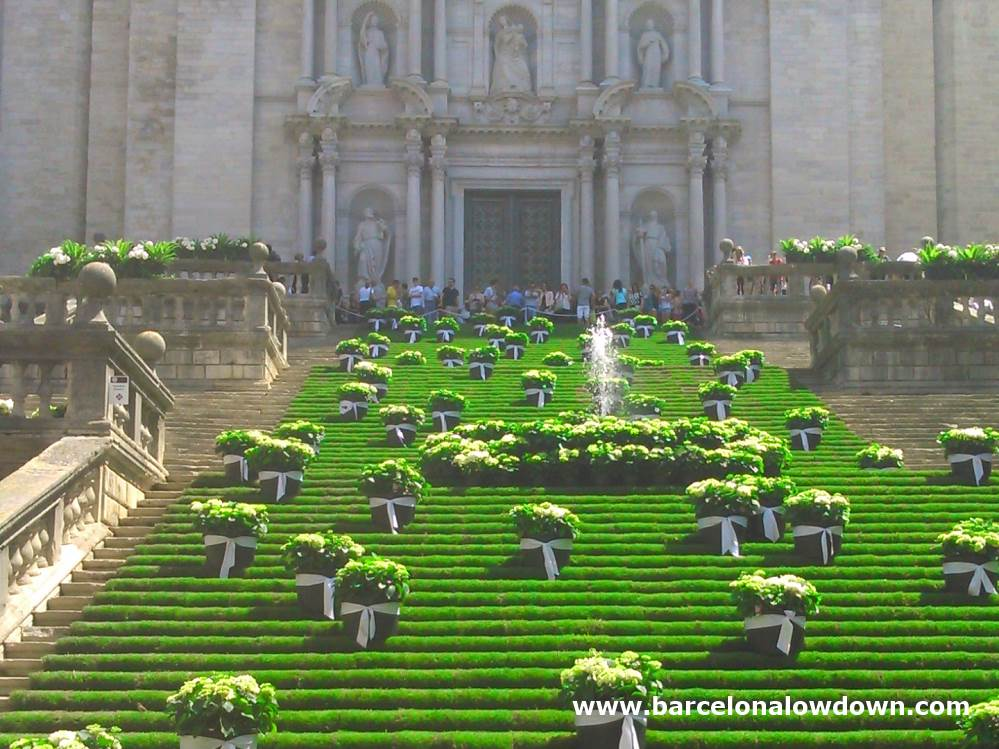 Floral display in front of Girona Cathedral during the Girona Temps de Flors flower festival near Barcelona