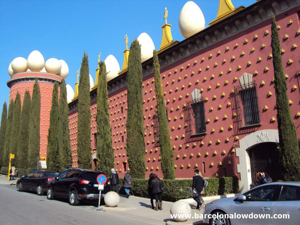 Red walls of the Salvador Dali Museum in Figueres Catalonia, near the Costa Brava