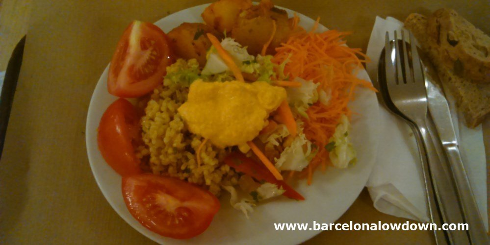A delicious salad at the Biocenter vegetarian restaurant in Barcelona