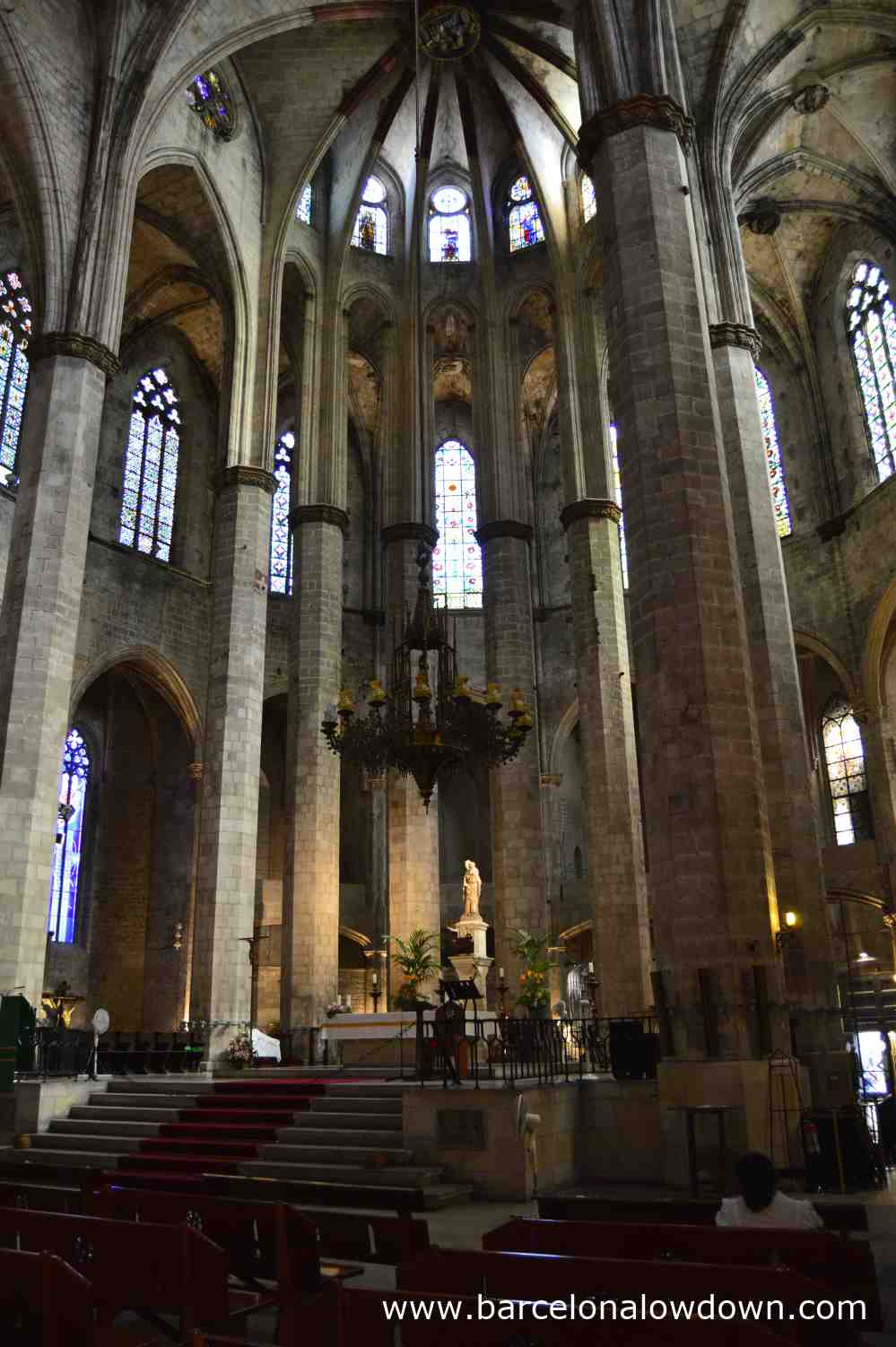 The altar and statue of the virgin Mary in Barcelona's Santa Maria del Mar basilica aka the Cathedral of the Sea