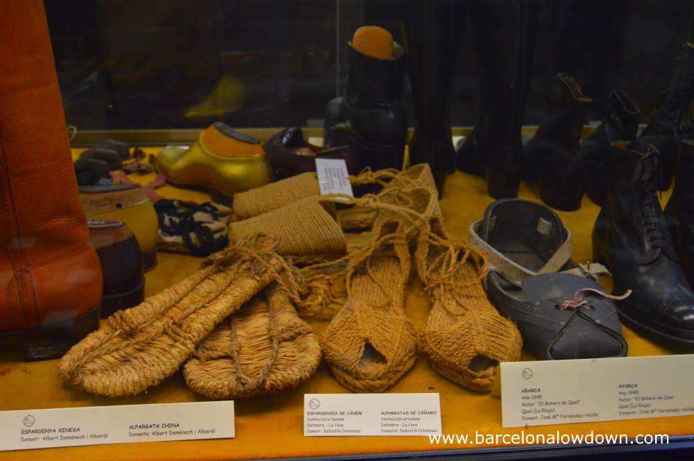 A collection of old shoes in the Barcelona Shoe Museum
