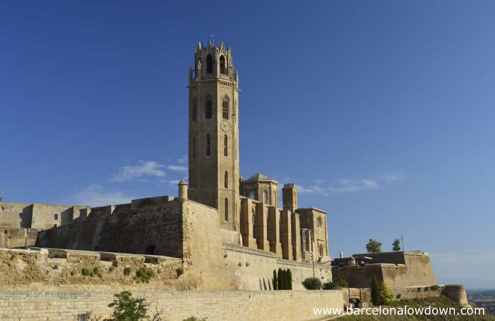 View of the Cathedral of LLeida (also known as Lleida castle) showing the Belltower, Cloisters and part of the fortified walls which were added at the start of the 18th Century