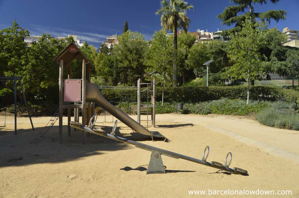 One of the children's play areas in Parc de les Aigües, Barcelona