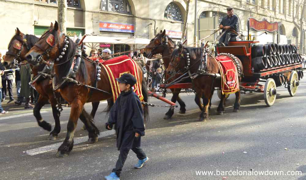 Horse dray in the tres tombs parade in the Sant antoni neighbourhood of Barcelona