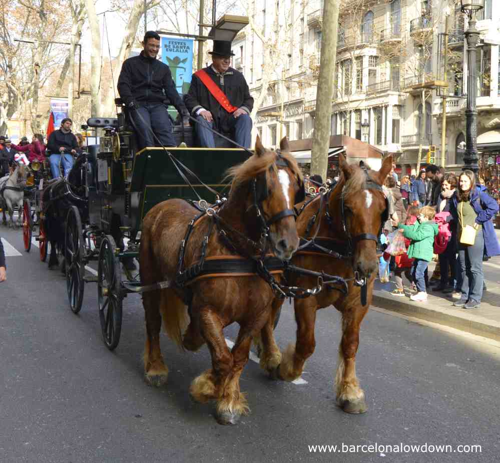The anual Tres TombsHorse Parade Barcelona celebrating St Anthony's day