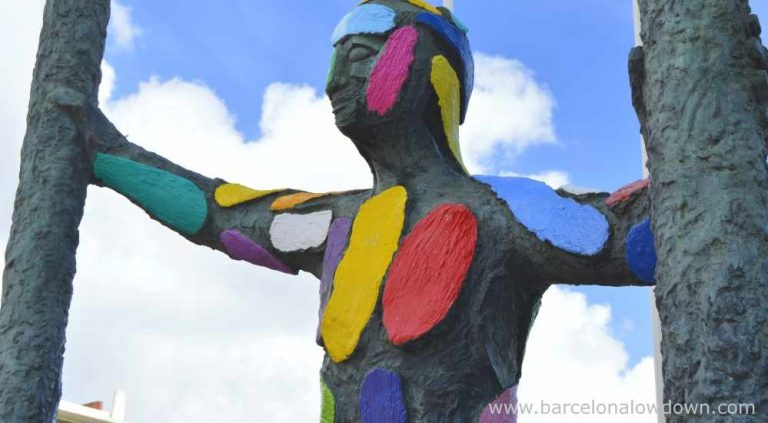 Brightly coloured bronze statue of Marc in Barcelona's Olympic village