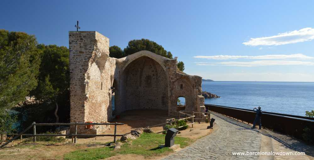 The ruins of the Gothic church of St. Vincent in the medieval walled town of Tossa de Mar