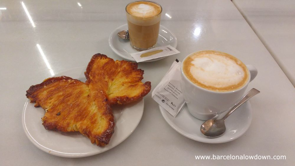 Coffee and a pastry, a popular choice for breakfast in Barcelona