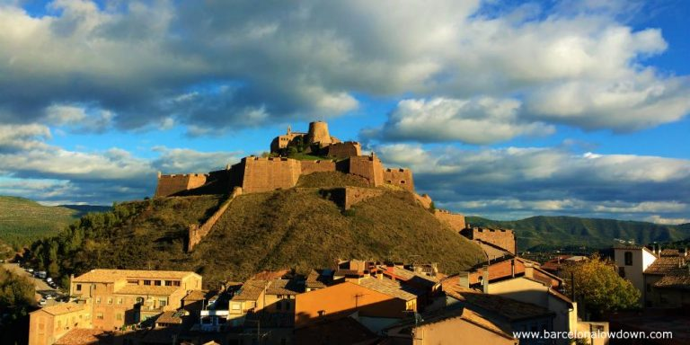 View of Cardona castle and the surrounding hills on a cloudy autumn afternoon, 100km from Barcelona