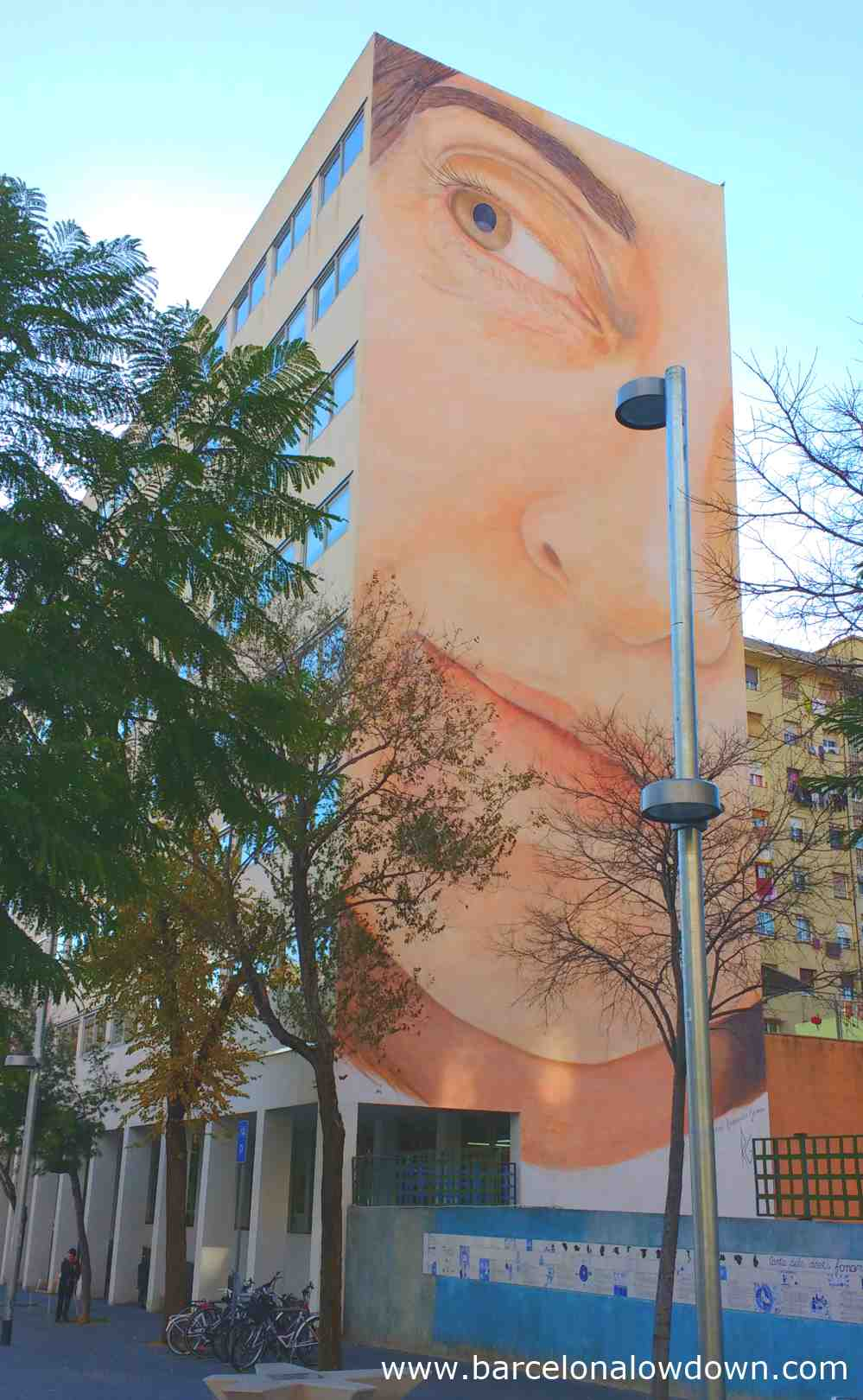 Giant street art portrait of a woman by Cuban artist Jorge Rodriguez in Barcelona Spain