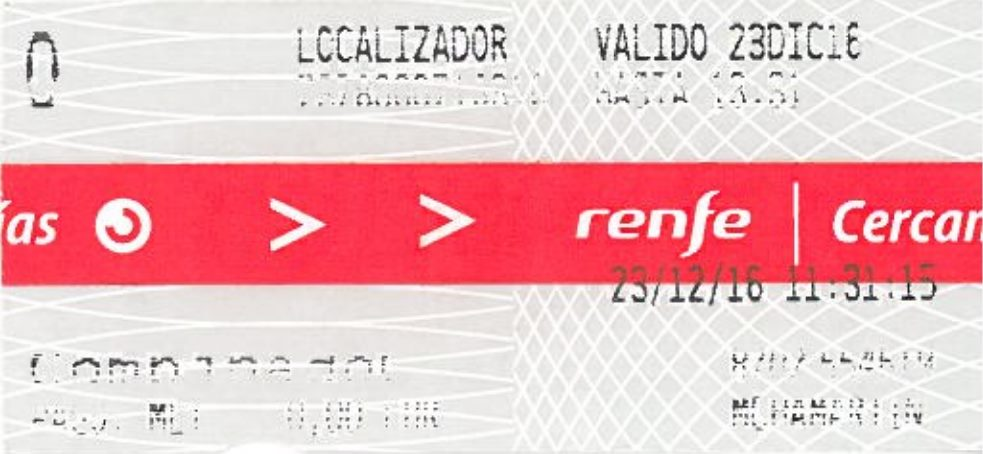example of a free train ticket in Madrid Spain