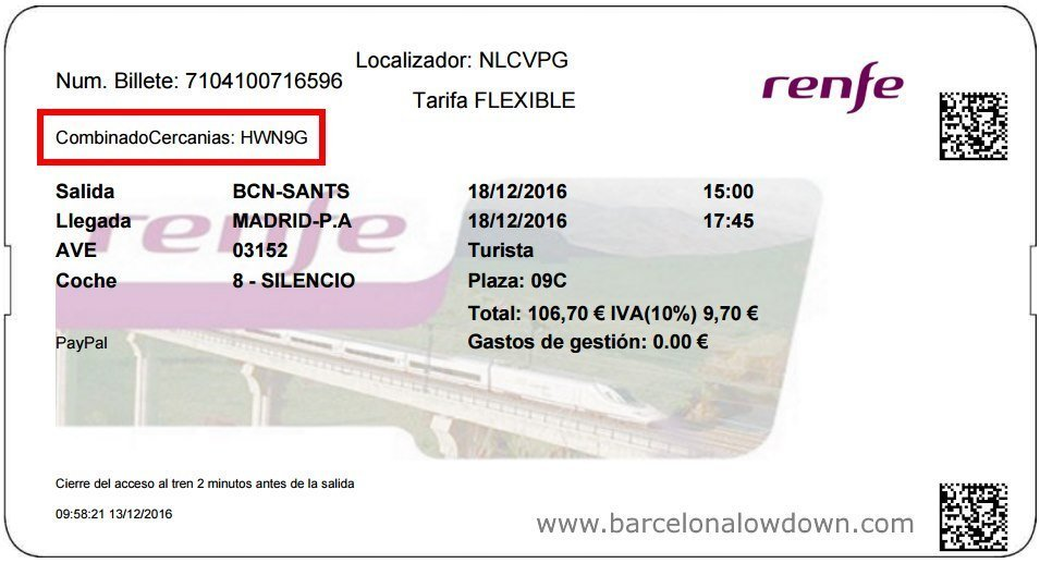 Combinado Cercanias - AVE train ticket with free transfers