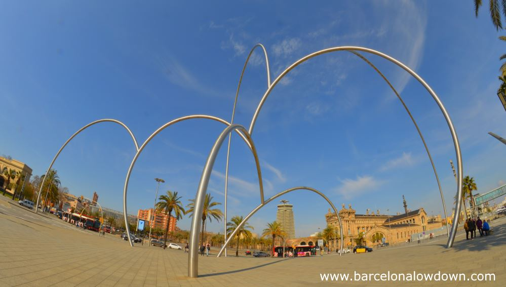 "Photo of the onates ""waves"" statue in Barcelona taken with a fisheye lense"