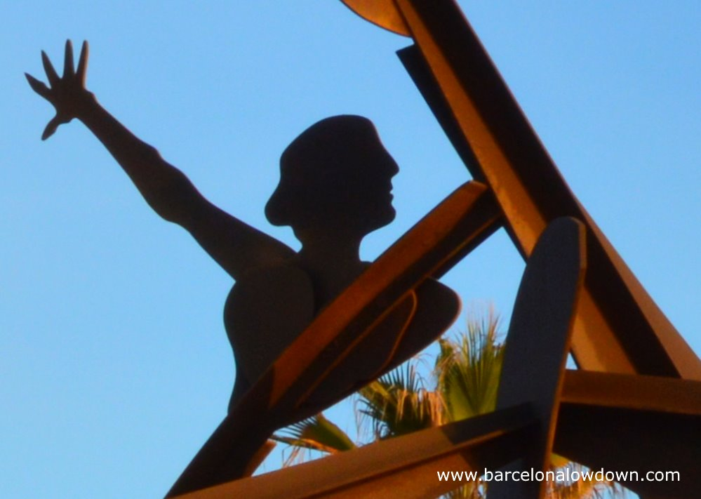 Close up of the homage to swimming monument by Alfredo Lanz located near the Barceloneta beach in Barcelona Spain