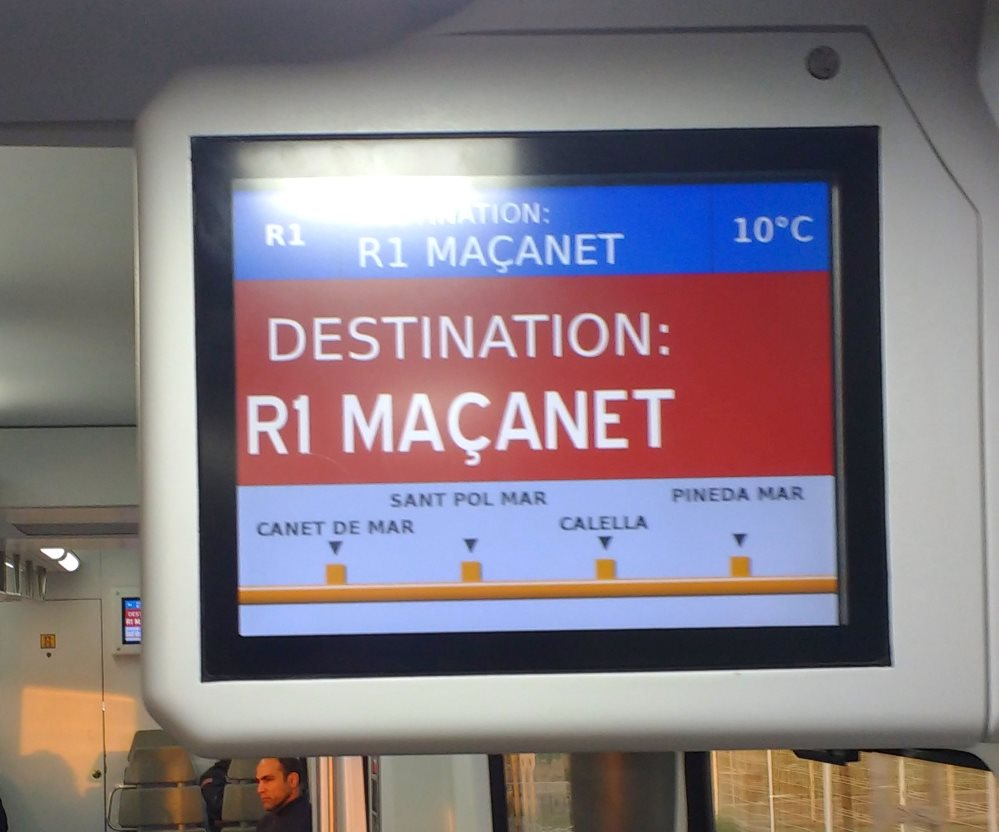Information screen in a Catalan train