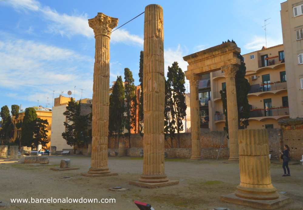 Tall stone Roman columns at the Local Forum Tarragona, Catalonia Spain