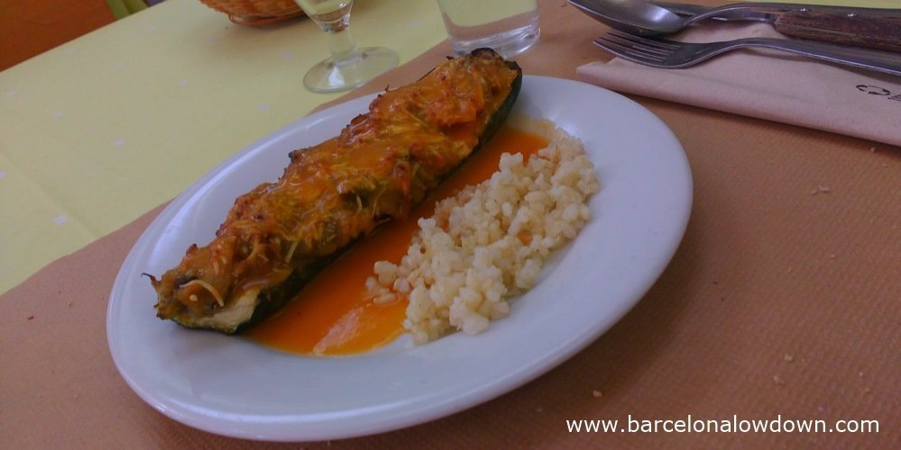 Stuffed aubergine served at La Rieral vegetarian restaurant next to the Camp Nou Barcelona Football stadium