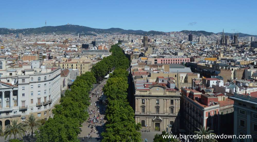Barcelona's emblematic Rambla as seen from the viewing deck of the Christopher Columbus monument